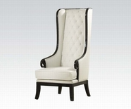 ACME Pedro 59128 BLACK FRAME ACCENT CHAIR (WHITE PU)