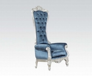 ACME Raven 59142 SILVER FRAME/BLUE FABRIC ACCENT CHAIR