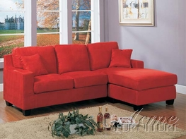 ACME RED MICROFIBER SECTIONAL SOFA - 05917B