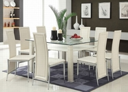 ACME Riggan 70610-70612 WH DINING PVC TABLE W/CLEAR TEMPER GLASS