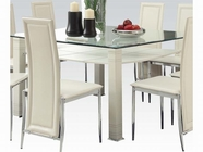 ACME Riggan 70610 WH DINING PVC TABLE W/CLEAR TEMPER GLASS