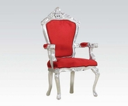 ACME Salim 59113 SILVER ACCENT CHAIR W/RED FABRIC