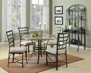 ACME Wal 70057SQWH SQ/WH FAUX MARBLE 5PC DINING SET W/WH CHAIR