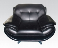 ACME Zahar 50137 BLACK BONDED L CHAIR