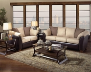 Albany 0325 Oxford Mocha Sofa and Loveseat