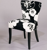 Armen Living 348 FABRIC SIDE CHAIR/ BLACK & WHITE FABRIC