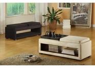 Armen Living 6019 CANCUN MICROFIBER DOUBLE TRAY BENCH