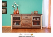 Artisan Home Furniture IFD962BUFFET-MC Antique Multicolor Buffet w/ 2 Iron mesh door panels w/ shelves, 3 drawers