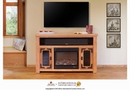 Artisan Home Furniture LHR100FIREP Lodge Fire Place & TV-Stand w/2 doors & space for soundbar  (Heater is included)