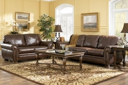 ASHLEY 20500 Palmer Walnut Leather Sofa Set
