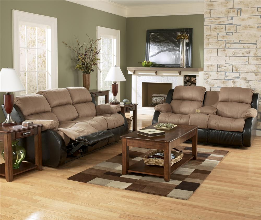 Ashley 315019488 Presley Cocoa Fabric Reclining Sofa Set 1000 x 843