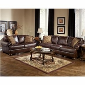 ASHLEY 42000 Axiom-Walnut Leather Sofa Set