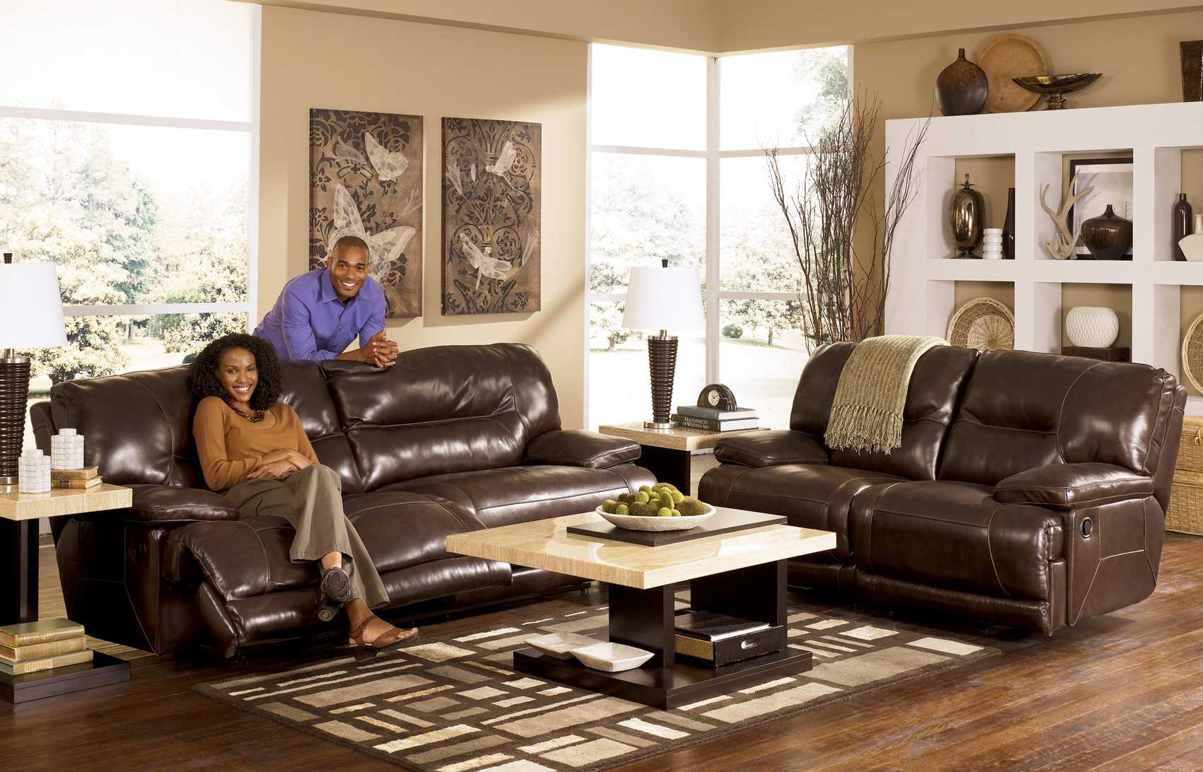 Ashley 42401 Exhilaration Chocolate Leather Reclining Sofa Set