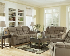 Ashley 51501 Lowell Toffee Fabric Reclining Sofa Set