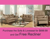 ASHLEY 7500238-35 Darcy Mocha Living Room Set + Free 7590325 Recliner