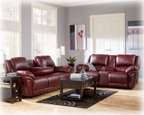Ashley Magician DuraBlend - Garnet 7610043 Dual Glider reclining Loveseat w/ Console