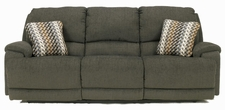 Ashley Herztio - Steel  8970202N 3-Seat Reclining Sofa w/ Power