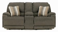 Ashley Herztio - Steel  8970291N Dual Glider reclining Loveseat w/ Console & Pwr