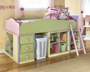 Ashley Doll House B140-68T-08-16X3-17-19 Loft bed with open shelves and drawers