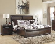 ASHLEY Marxmir B664-77/54S/96S Queen wood panel hdbd storage bed