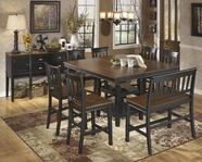 ASHLEY Owingsville D580-32/224/323 Square counter height dining set(with double ladderback barstool)