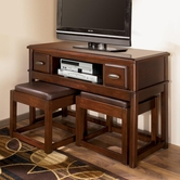 Ashley Lance T566-4 TV Console w/ 2 Nesting Ottomans