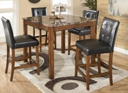 ASHLEY Theo Counter height table and 4 stools (faux marble) D158-233