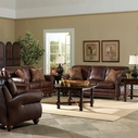 Best Osmond Stationary Leather Sofa Set With Nailhead Trim