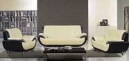Beverly F12 Ivory Leather Sofa Set