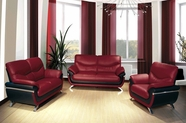 Beverly FL216 Red Leather Sofa Set