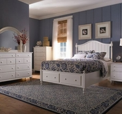 Broyhill 4649-260-263-460-705 Hayden Place-Linen White Finish Queen Panel Storage Bed