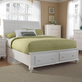 Broyhill 4649-274-277-475-707 Hayden Place-Linen White Finish California King Sleigh Storage Bed