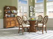Broyhill 4702-530-550-581 Samana Cove 5Pc Dining Set W/Glass Top Round Table