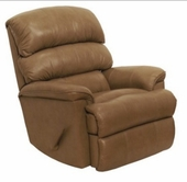 Catnapper 4404-2-Mushroon Top Grain Leather-Touch - Chaise Rocker Recliner