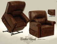 Catnapper 4843-Tobacco Vintage Power Lift Full Lay-Out Chaise Recliner-Top Grain Leather-Touch in fabric 1246-19/3046-19