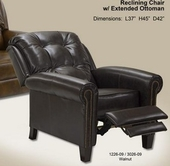 Catnapper 5549-Walnut Bonded Leather - Reclining Chair with Extended Ottoman