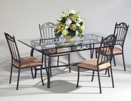 CHINTALY IMPORTS 0710-DT-RCT-TB Antique Taupe Rectangular Wrought Iron Dining Table