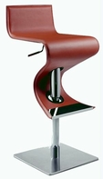 CHINTALY IMPORTS 0833-AS-RST Brushed Stainless Steel Pneumatic Gas Lift Adjustable Height Swivel Stool Upholstered in Rust Rec. Leather