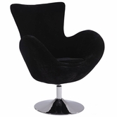CHINTALY IMPORTS 2001-ACC-BLK Chrome Modern Swivel Arm Fun Chair Upholstered in Black Velvet
