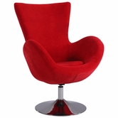CHINTALY IMPORTS 2001-ACC-RED Chrome Modern Swivel Arm Fun Chair Upholstered in Red Velvet
