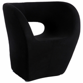 CHINTALY IMPORTS 2302-ACC-BLK Faux Cashmere Stationary Arm Fun Chair Upholstered in Black Fabric
