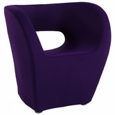 CHINTALY IMPORTS 2302-ACC-PUP Faux Cashmere Stationary Arm Fun Chair Upholstered in Purple Fabric