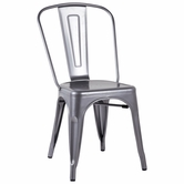 CHINTALY IMPORTS 8022-SC-SLV Alfresco Collection Shiny Silver Galvanized Steel Side Chair
