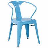 CHINTALY IMPORTS 8023-SC-BLU Alfresco Collection Sky Blue Galvanized Steel Side Chair