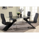 CHINTALY IMPORTS TARA-DT TARA DINING Black Glass/Chrome Extendable Glass Dining Table