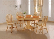 Coaster 100241-4205 5 Piece Round Oval Dining Set in Natural Finish