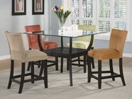 Coaster 100588-89 5 Piece Glass Top Counter Height Table Set in Cappuccino Finish