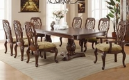 Coaster 103441-4X42 Marisol Double Pedestal Rectangular Table and Traditional Ribbon Back Chair Set