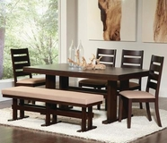 Coaster 104081-4x82 Travis Contemporary Dining Set with Upholstered Chairs and Bench