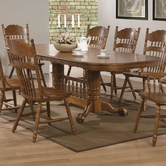 Coaster 104271-4X72 Brooks-Table-Set-with-Oak-Finish-Oval-Trestle-Table
